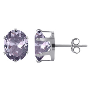 Lavender Color CZ 925 Silver Stud Earrings