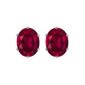 Ruby Color Cubic Zirconia 925 Silver Stud Earrings