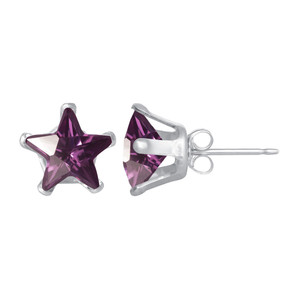 Star Shape Purple CZ 925 Silver Stud Earrings