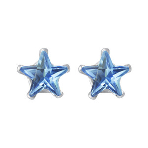Blue Zircon Color CZ 925 Silver Stud Earrings