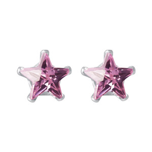 Star Shape Pink Cubic Zirconia 925 Silver Stud Earrings