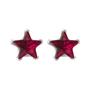 Star Shape Ruby Color CZ 925 Silver Stud Earrings