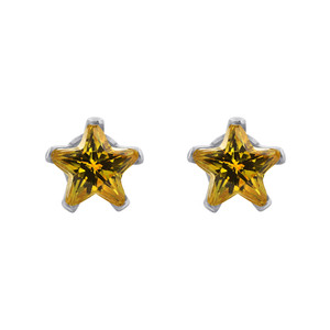 Star Shape Citrine Color Cubic Zirconia 925 Silver Stud Earrings