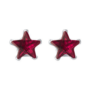 Ruby Color CZ 925 Silver Stud Earrings