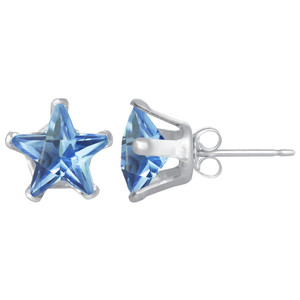Star Shape Blue Zircon Color CZ 925 Silver Stud Earrings