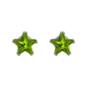 Peridot Color CZ 925 Sterling Silver Stud Earrings