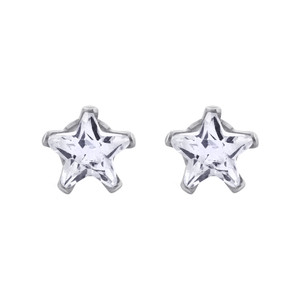 6mm Star Shape Clear CZ Cubic Zirconia April Birthstone Sterling Silver Stud Earrings