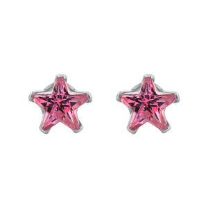 Star Shape Pink CZ 925 Silver Stud Earrings