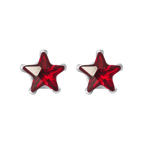 Star Shape Garnet Color CZ Sterling Silver Stud Earrings