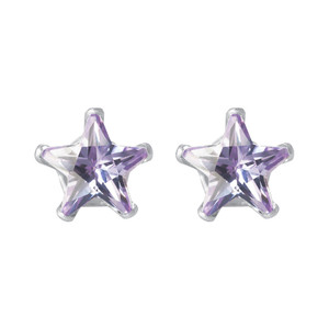 Amethyst Color CZ 925 Silver Stud Earrings