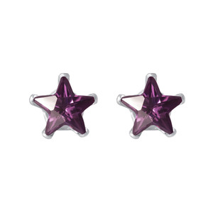 Amethyst Color CZ Sterling Silver Stud Earrings