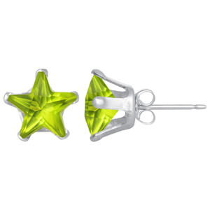 Peridot Color CZ Sterling Silver Stud Earrings