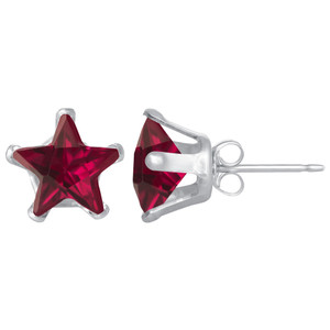 Ruby Color CZ Sterling Silver Stud Earrings