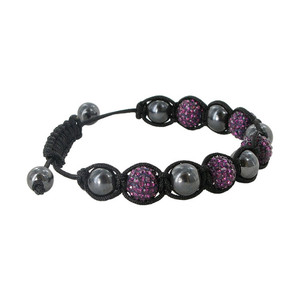 Dark Purple Crystal and Simulated Hematite Bracelet