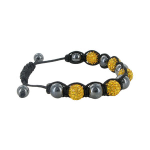 Yellow Crystal & Simulated Hematite Bracelet