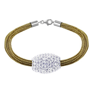 Studded Barrel with Golden Silk Strands 925 Silver Bracelet