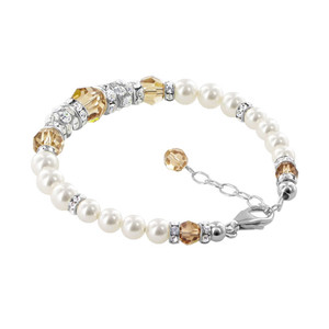 Simulated Pearls With Brown Crystal 925 Silver Bracelet