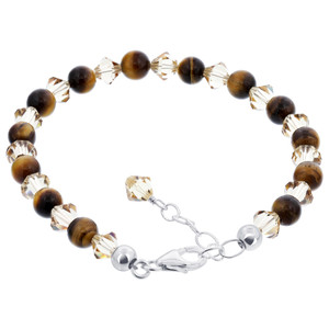 Tiger Eye With Crystal 925 Silver Adjustable Bracelet