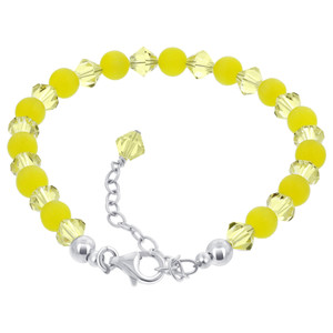 Yellow Cats Eye & Crystal 925 Silver Bracelet
