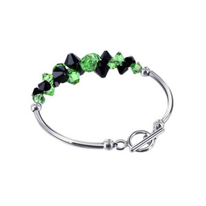 Cluster Style Swarovski Elements Green and Black Crystal 7.5 Inch Bracelet