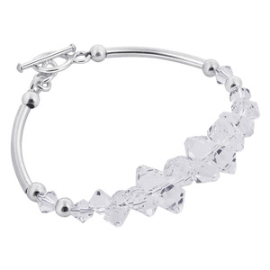 925 Silver Beads Accented Clear Crystal Bracelet