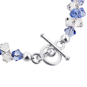 Blue and Clear Crystal Sterling Silver Bracelet