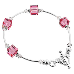 Cube Shaped Swarovski Elements Pink Crystal 7.5 inch Bracelet