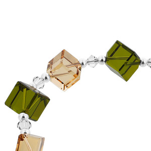 Diagonal Cube Shaped Swarovski Elements Green & Brown Crystal 7 inch Bracelet