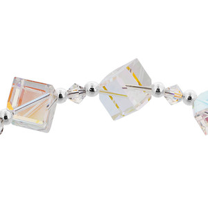 Diagonal Cube Shaped Swarovski Elements Clear Crystal 7 inch Bracelet