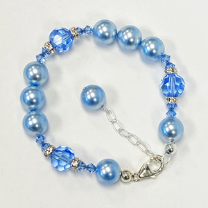 10mm Blue Pearl Crystal 925 Sterling Silver Bracelet