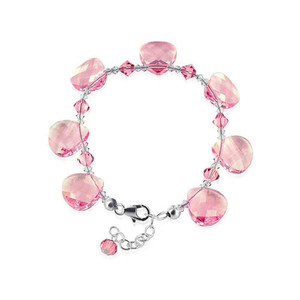 Pink Teardrop Shaped Swarovski Elements Crystal 7 to 8.5 inch Adjustable Bracelet