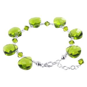 Teardrop Swarovski Elements Green Crystal 7 to 8.5 Inch Adjustable Bracelet