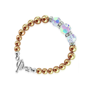 Crystals with Bronze Faux Pearl Bracelet