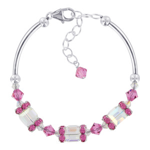 Swarovski Elements Cube Shape Clear AB & Pink Crystal Bracelet