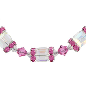 Clear AB and Pink Crystal Sterling Silver Bracelet