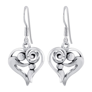 925 Sterling Silver Parent and Child Heart Drop Earrings