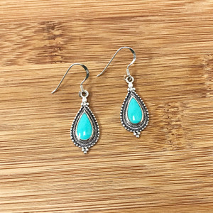 925 Sterling Silver Bali Style Dangle Earrings With Synthetic Turquoise