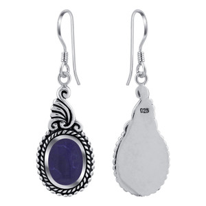 925 Silver Dangle Earrings With Synthetic Sodalite