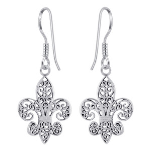 925 Silver Celtic Filigree Design Fleur-de-Lis Hook Drop Earrings