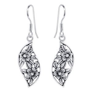 925 Sterling Silver Flower Dangle Earrings