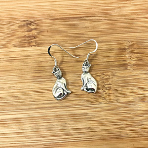 925 Sterling Silver Comfortable Cat Hook Dangle Earrings