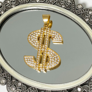 Stainless Steel Cubic Zirconia CZ Gold Plated $ Dollar Sign Pendant
