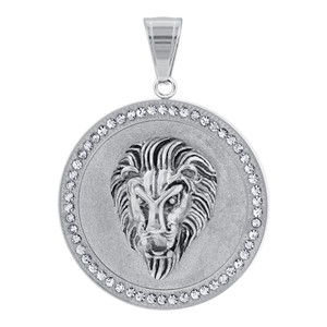 Stainless Steel Roaring Lion Head Pendant