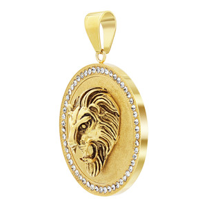 Stainless Steel Gold Plated Roaring Lion Head Pendant