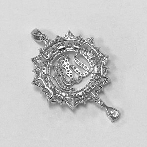 925 Sterling Silver Rhodium Plated Cubic Zirconia CZ Allah pendant