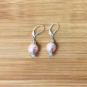 925 Sterling Silver Pink Pearl Swarovski Elements Crystal Drop Earrings