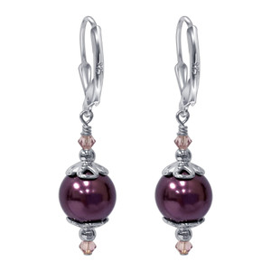925 Sterling Silver Dark Purple Pearl Swarovski Elements Crystal Handmade Drop Earrings
