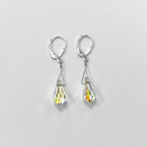 Swarovski Elements Clear Crystal Women's Handmade Drop Earrings with 925 Sterling Silver Leverback