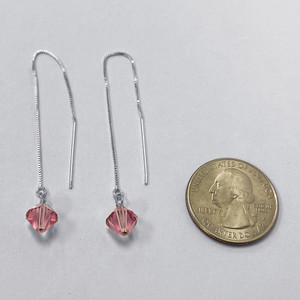 Swarovski Elements Pink Crystal Handmade Threader Dangle Earrings with 925 Sterling Silver