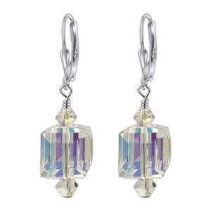 Swarovski Elements Clear Crystal Handmade Drop Earrings with 925 Sterling Silver Leverback